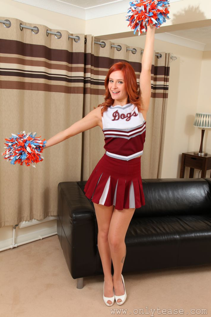 Blonde cheerleader strip