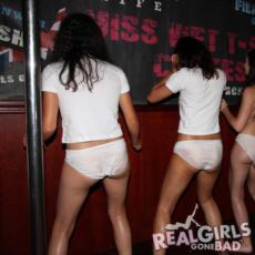 The white knickers are getting wet and revealing, all part of the fun