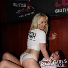 Real British Party Girls Having Fun on Stage