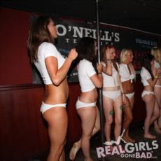 Group of hot girls join a wet t-shirt contest in O'Neill's Bar