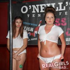 Real girls in a wet t-shirt competition
