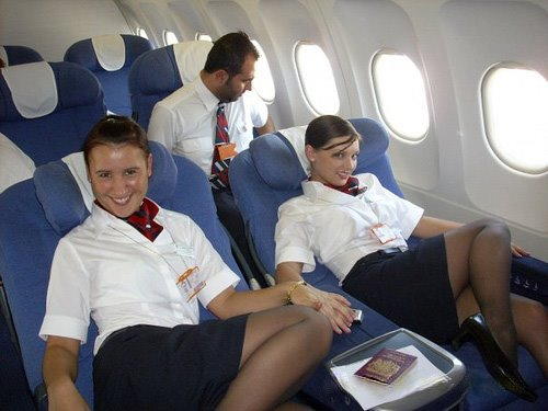 American Airlines Hostesses Relaxing