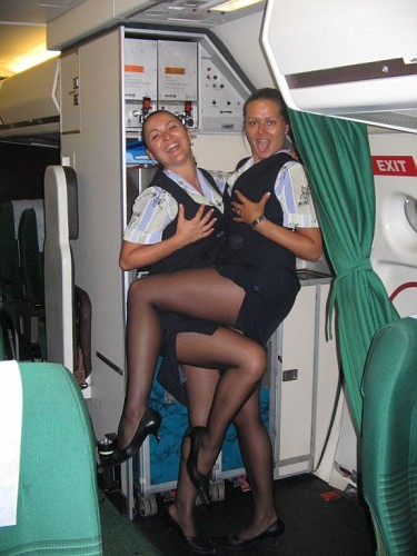 Bored Air Stewardesses in Pantyhose