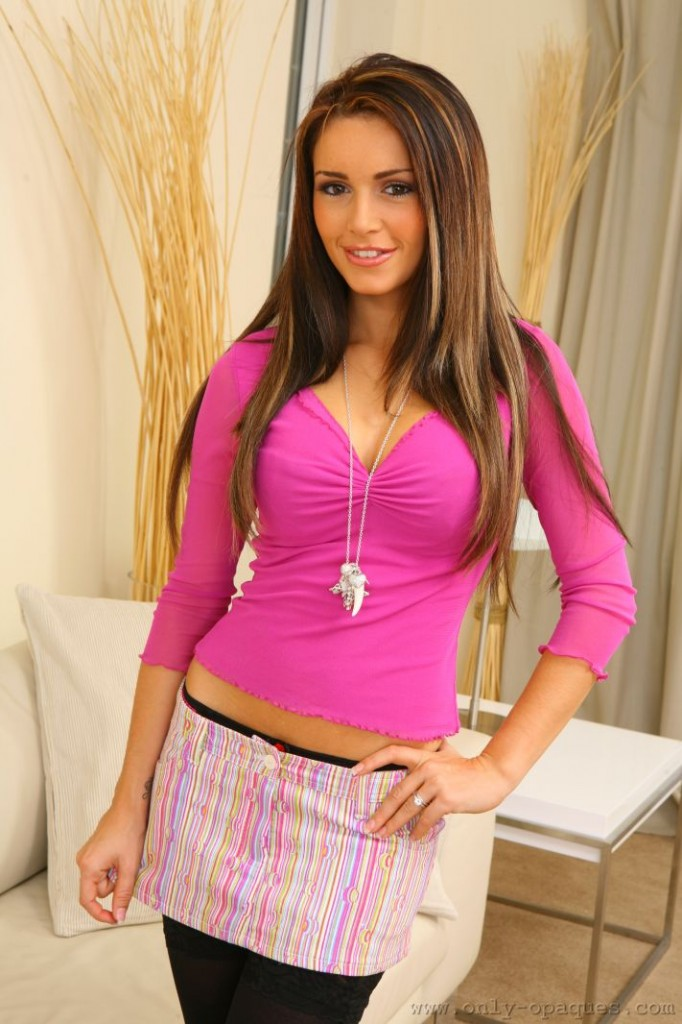Gemma Massey in a Cute Miniskirt