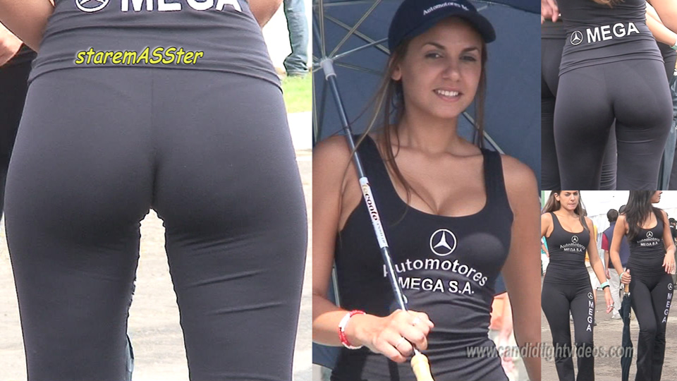 Beautiful Car Show Girl in Tight Trousers