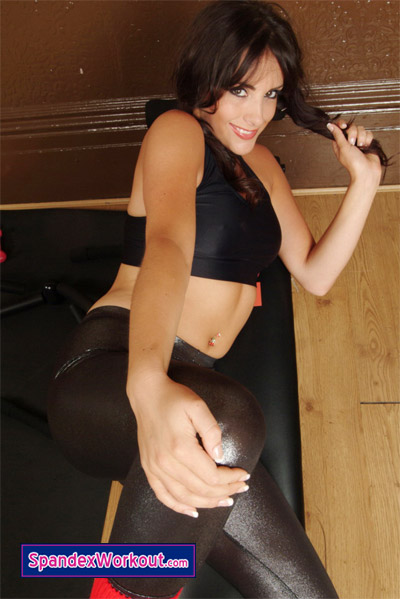 Cute Katie in Tight Black Leggins