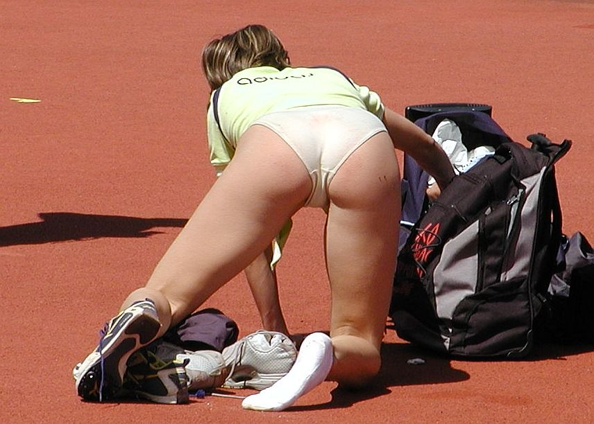 Bending Over Sports Panties - Tight and Revealing
