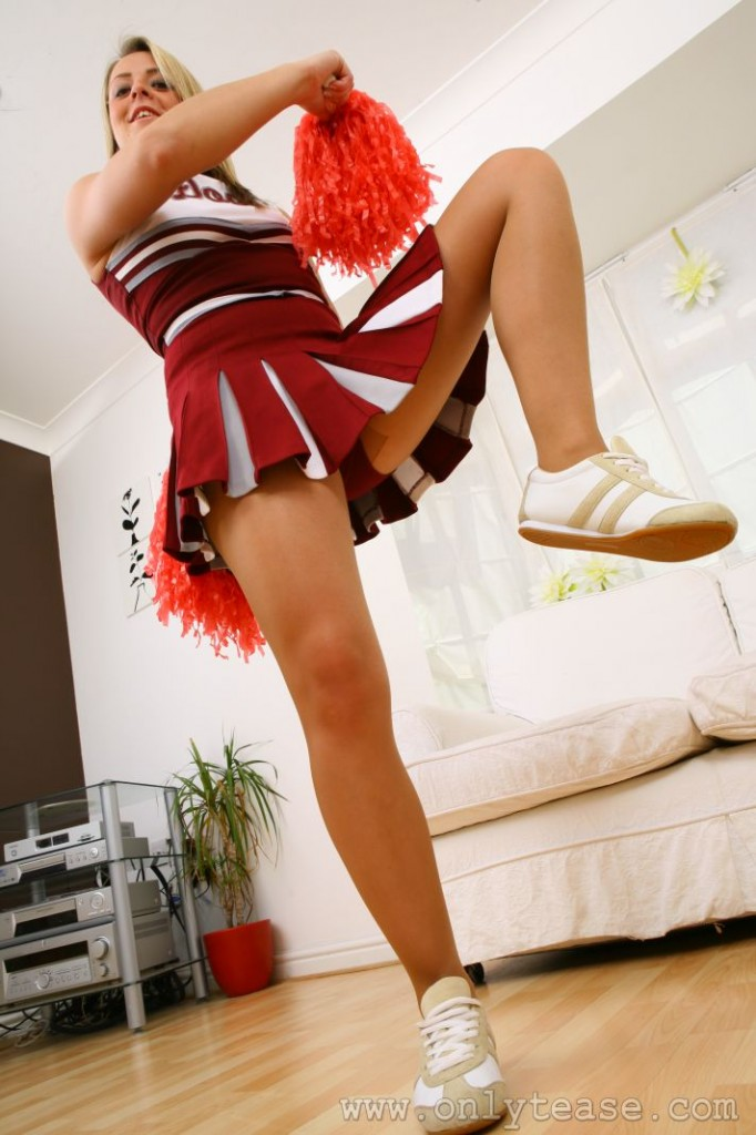 Cheerleader Upskirt in her Bedroom