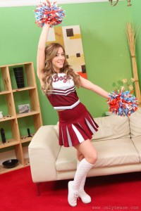 Cute Cheerleader in her Living Room
