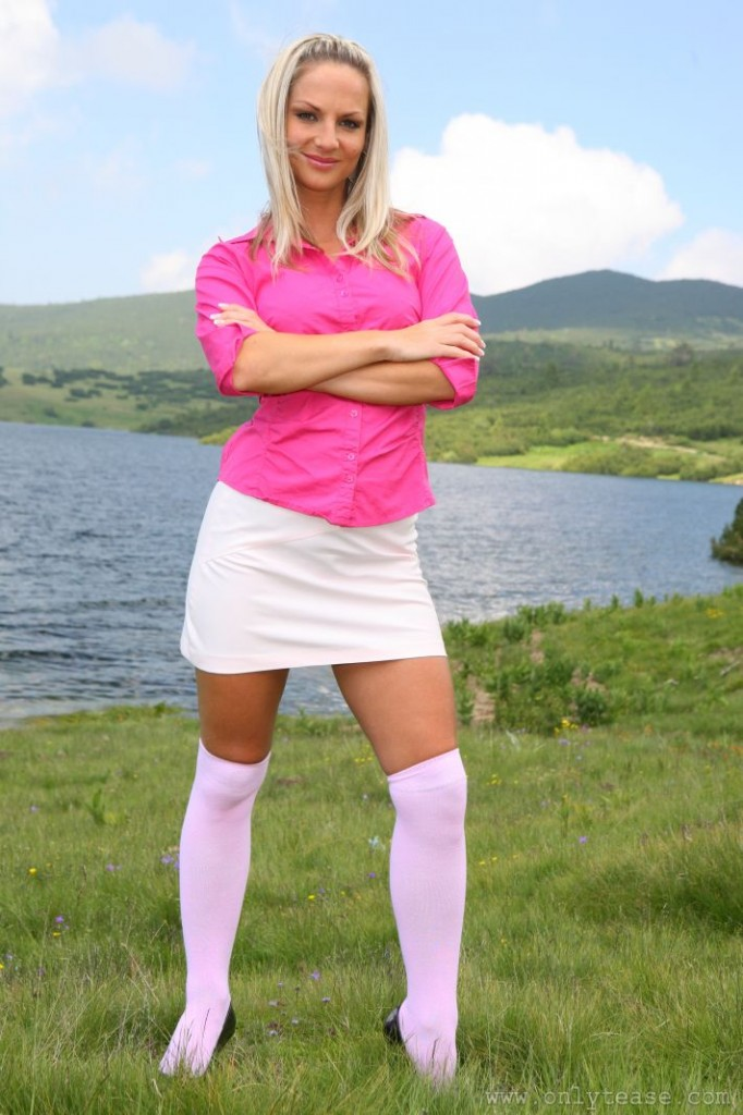 Cute Blonde Tammy in a Short Skirt and Knee High Socks