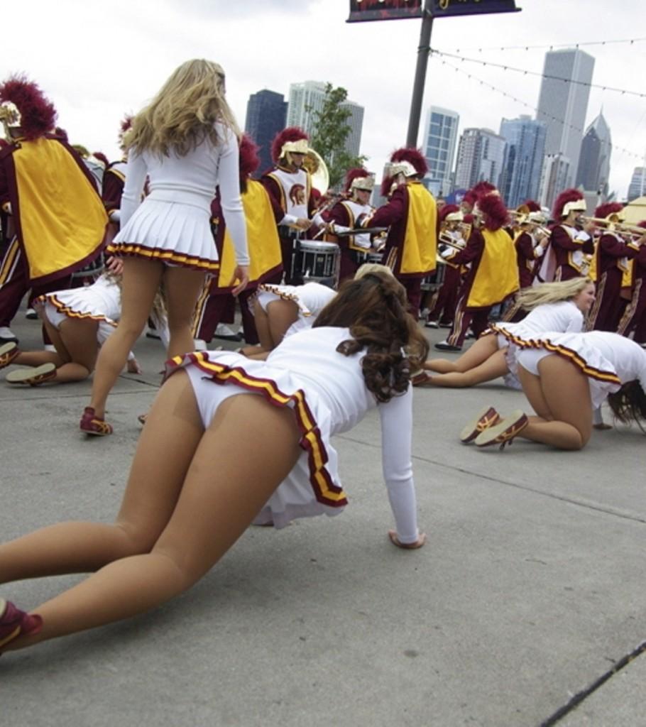 Cheerleader Fun on the Street