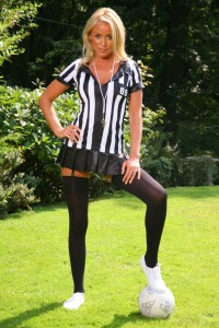 Blonde Referee in Mini Skirt and Stockings