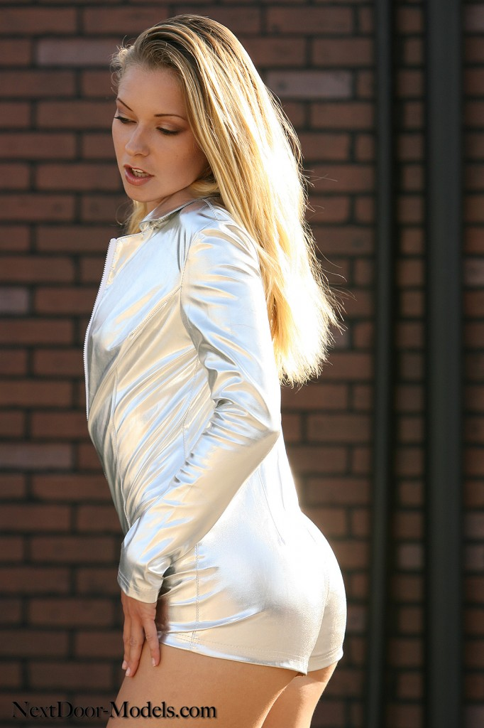 Hot Blonde in Silver Jumpsuit
