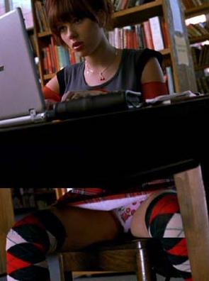 Fun Scarlett Johansson Upskirt (under the table with cute panties)