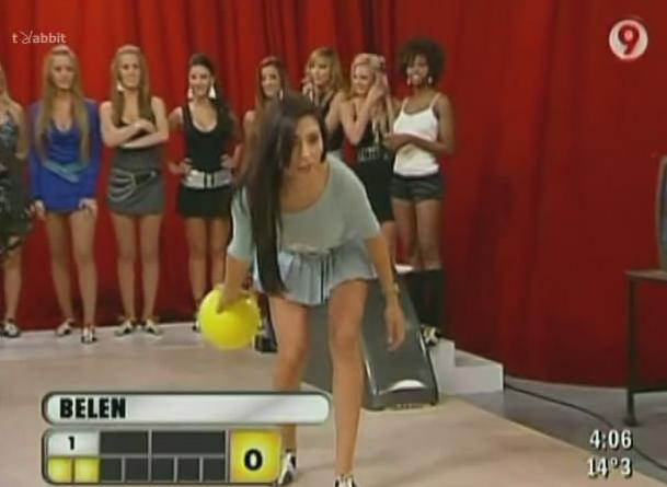 Hot Girl from Argentina Bowling in a Miniskirt