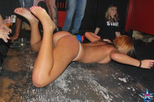 Drunk Party Girl on the Floor Showing her Thong