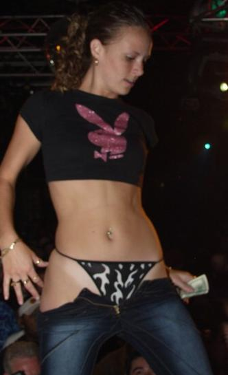 Cutie Reveals her Knickers on stage in the club