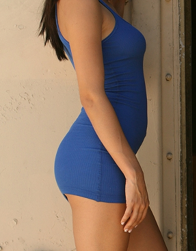 Cassie in her Tight Blue Dress
