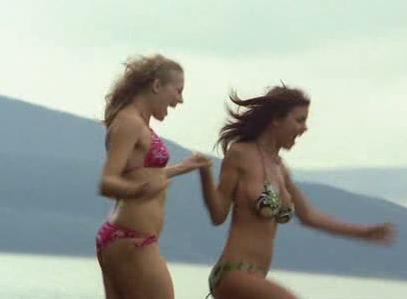 Bikini Girls Running into Lake Placid