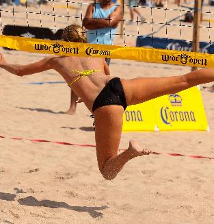 Flexible Beach Volleyball Girl in Tight Sporty Bottoms and Bra