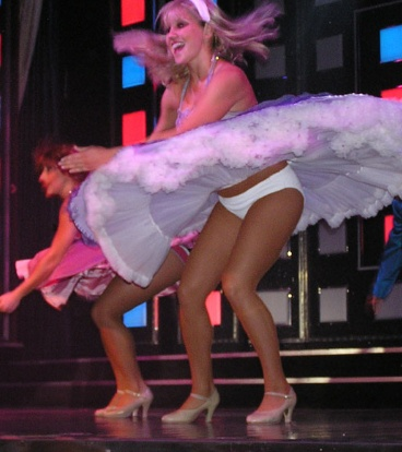 White Panty Flyskirt On Stage