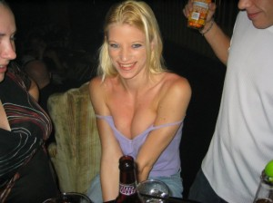 Smiling Blonde Downblouse Cleavage Fun