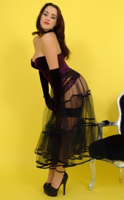 Pin Up Girl Jodie in a See Thru Skirt
