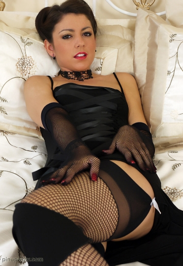 Bryoni Teasing in Stockings on her Bed