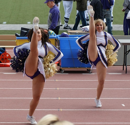 Kicking Cheerleaders in Tight Panties