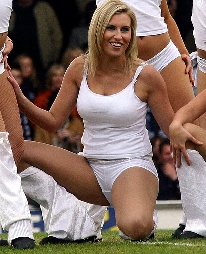 Cute Cheerleader in White Panties