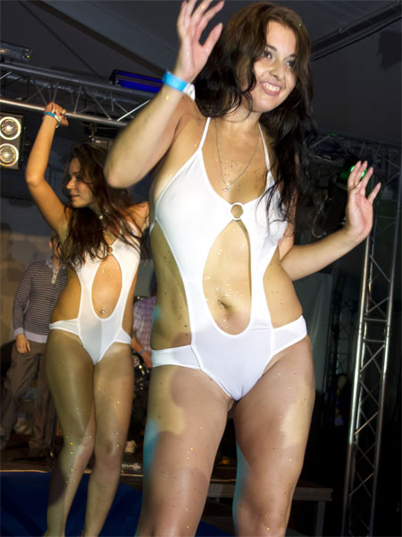 Fun Girls Showing off at Automotive 2010