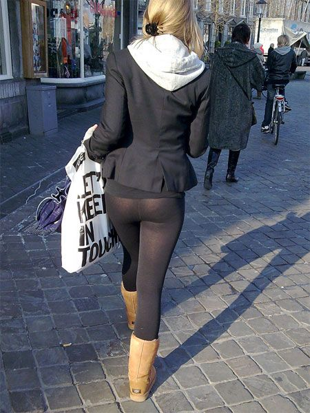 Tight Leggings going for a walk down the street