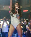 Melissa Molinaro in a White Leotard Singing