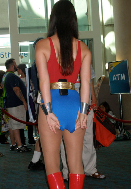 WonderWoman adjusts her leotard