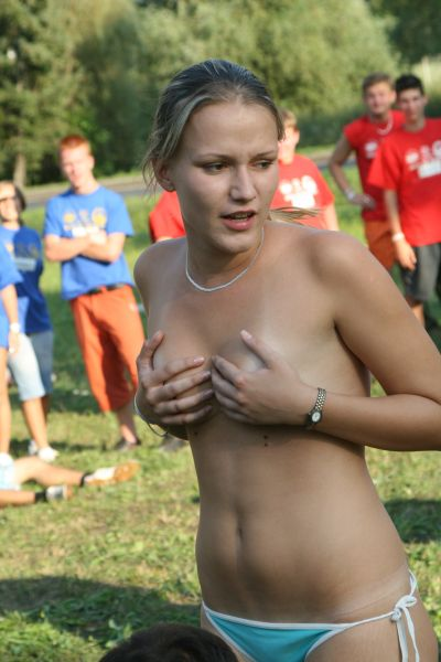 Embarrassed University Student in a Handbra