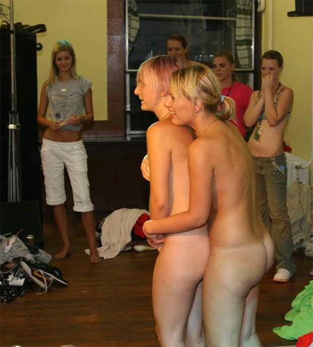 Two Nude Girls Initiationed