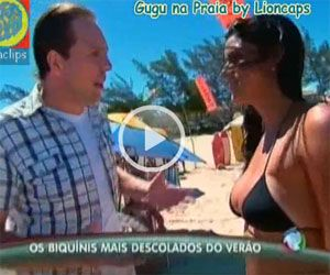 A Cute Brunette Girl is talked into Switching her Bikini on a Beach in Brazil