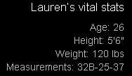 Lauren's Vital Stats