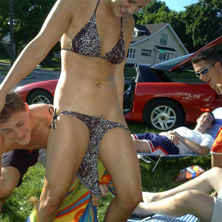 Coed Pantsed, she smiles as she sees her Bikini Bottoms getting pulled South