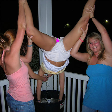 Drunk Upshorts as she's Lifted above the Keg