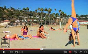 Sexy Bikini Cartwheel on the Beach