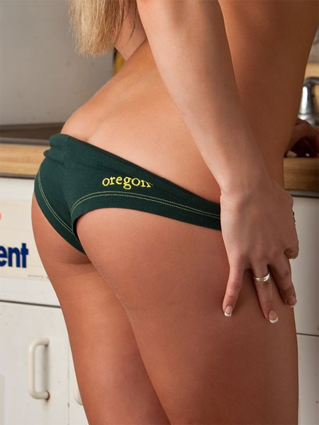 In her University of Oregon Cheerleader Panties