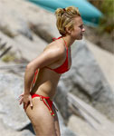 Non Nude Hayden Panettiere looking Hot in a Red Bikini on the Beach