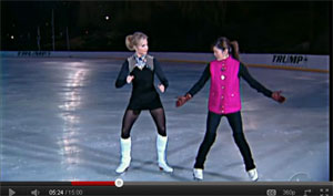 Elisabeth Hasselbeck is learning to Ice Skate in a Minidress, White Boots and Pantyhose