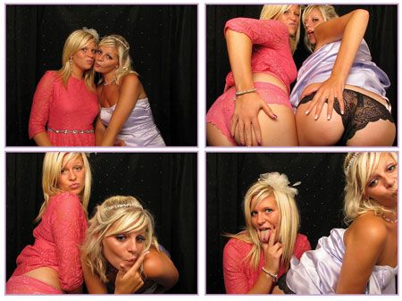 Pretty Students Flash in a Photobooth