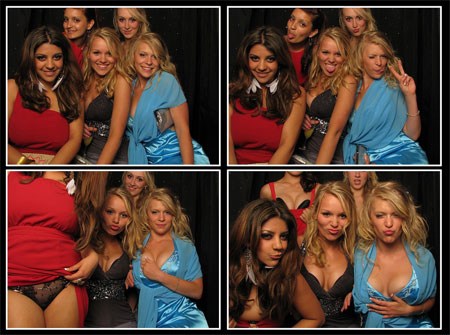 Party Girls Showing Off in a Photobooth