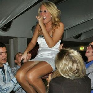 Blonde Shows Pantyhose Upskirt
