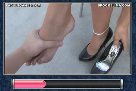 Brooke's heels make her feet sore, give them a rub for her