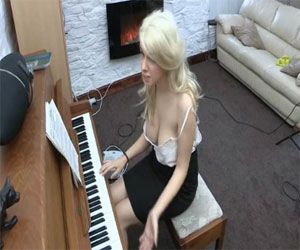Holly from Downblouse Loving Playing the Piana