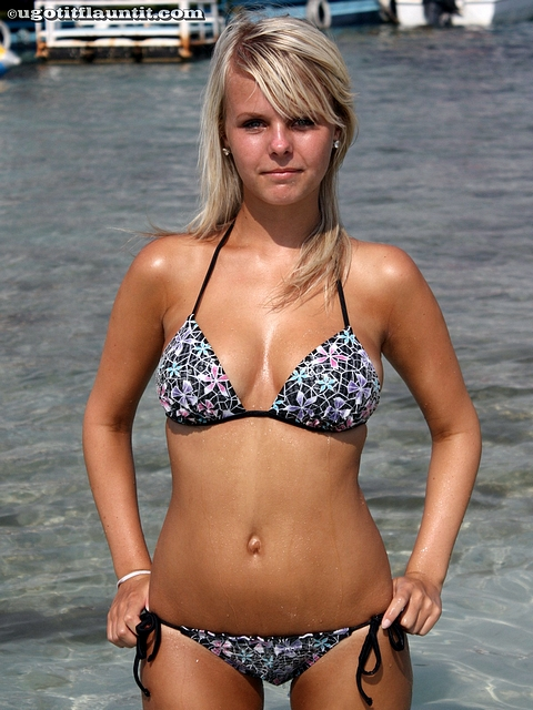 Blonde Bikini Girl on a Beach